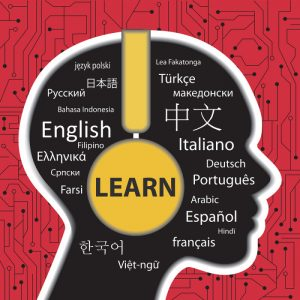 concept for learning to speak different languages with a headphone