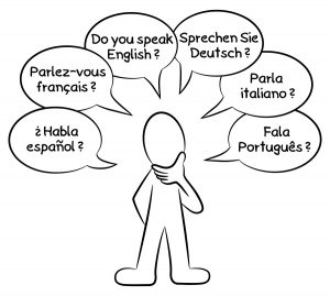 vector illustration of a man who wants to know what languages you speak in different languages